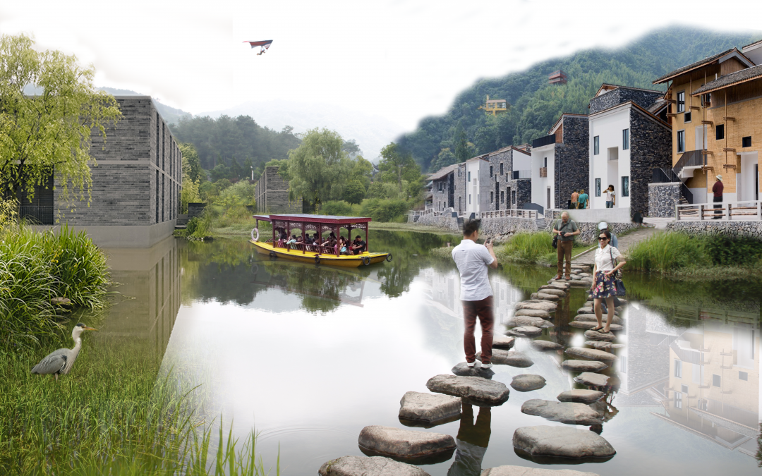 Inclusief recreatielandschap Xiaojia River District te Ningbo